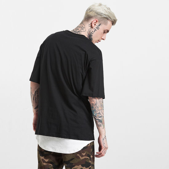 2018 Latest Male T Shirt Designs Oversized Tshirt with Zip Accessories pictures & photos