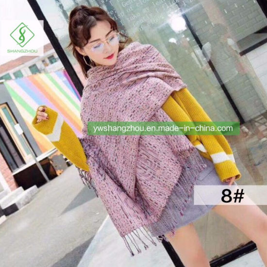 Fashion Colorful Knit Scarf with Tassel Winter Lady Cashmere Shawl