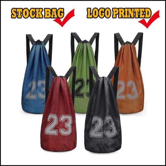 Stock / Wholesale Big Capacity Badminton Football Sports Drawstring Bag, Outdoor Basketball Gym Backpack
