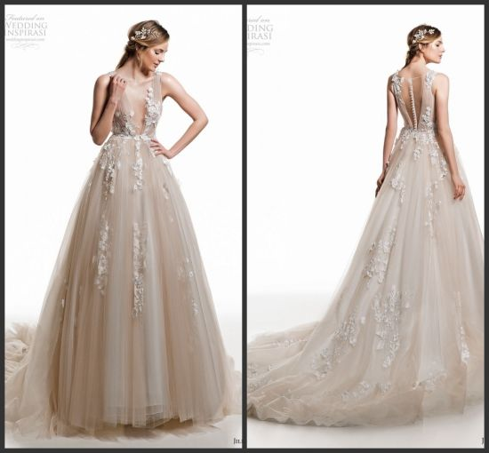 d81bb1930167 Lace Bridal Evening Gowns Custom Champagne Wedding Dresses Z506 pictures &  photos