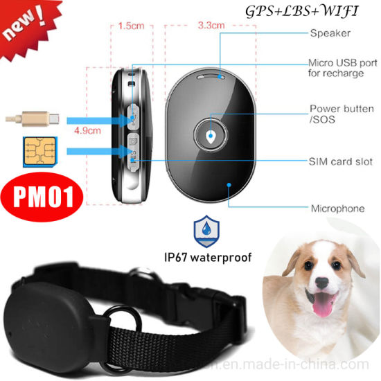 Top Quality IP67 Waterproof Collar Geo-fence Setup Tracking Pets Mini Tracker GPS with Anti-Lost Function Pm01