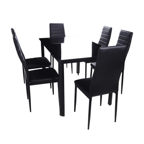 Cheap Dining Furniture Restaurant Modern 6 Chairs Room Glass Dining Table Set