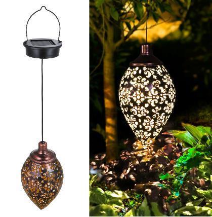 Waterproof Outdoor Solar Powered Lamp Metal Decorative Olive Hanging Lantern