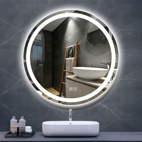 Factory Cheap LED Smart Touch Cosmetic Vanity Mirror Bathroom Wall Round Mirrors with LED