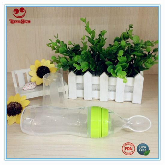 120ml Squeeze Silicone Baby Feeding Bottle with Spoon pictures & photos