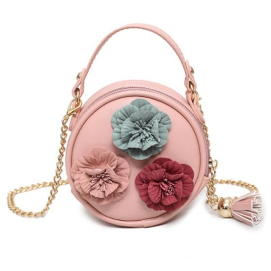 Lovely Round Kids Fashion Stereo Flowers Chain Small Tote Shoulder Bag for Girls Esg13564