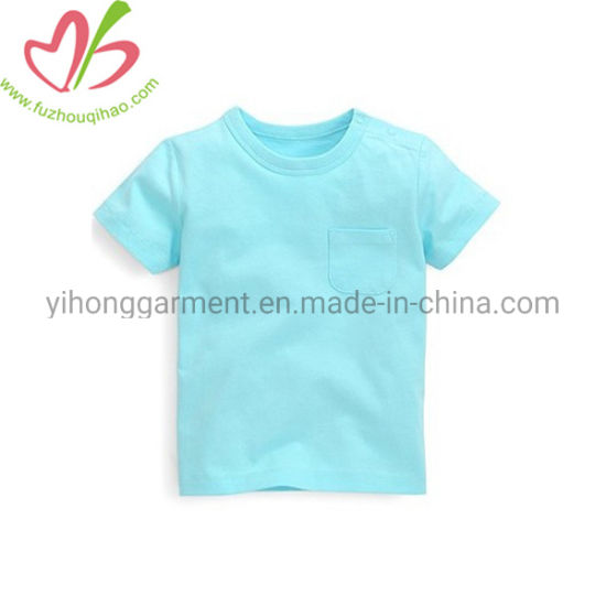 Cotton Little Boys Blank T Shirts with Snaps Open Neck