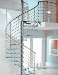 Stainless Steel Glass Spiral Stairs for Small Space
