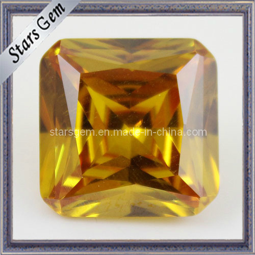 Yellow Princess Cut Square Cubic Zirconia Gemstone for Jewelry