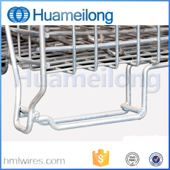 Welded Industrial Folding Rolling Wire Mesh Pallet Cage pictures & photos
