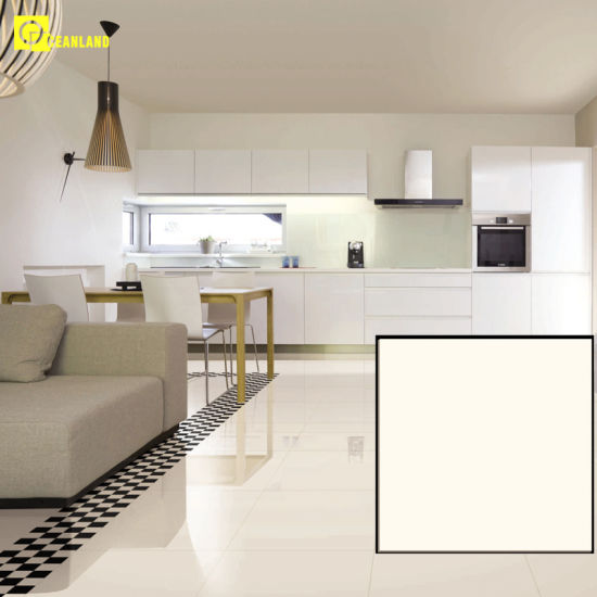 China Mono White Colour Polished Porcelain Floor Tile In Livingroom