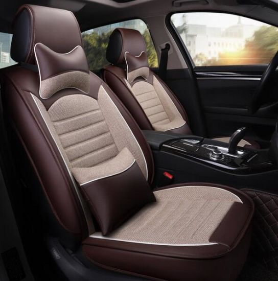 Wholesale Car Accessory of Commercial Seven (7) Seat 5D Top Microfiber Leather Car Seat Head Covers
