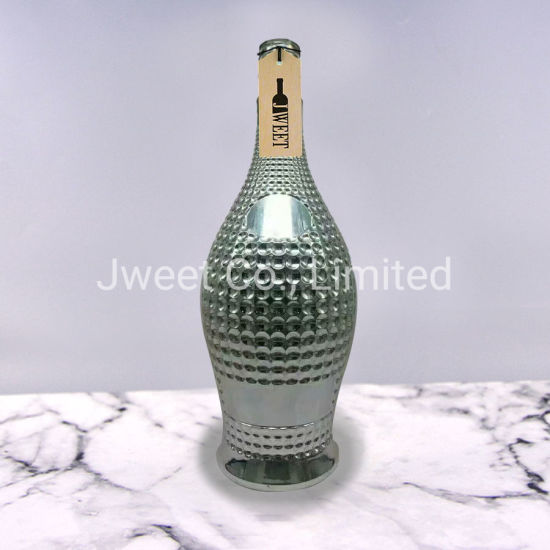 China OEM Embossed Silver Color Round Shape Brandy Glass Bottle