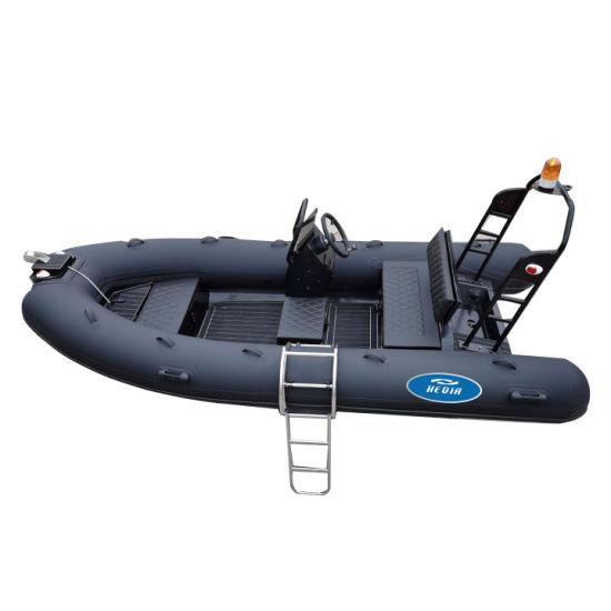 Rib Boats Black CE 13 FT High Speed PVC Hypalon Boat Aluminum Hull Rib Boats Black with Outboard Motor