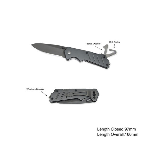 Survival Knife with Belt Cutter and Window Breaker (#3670-717)