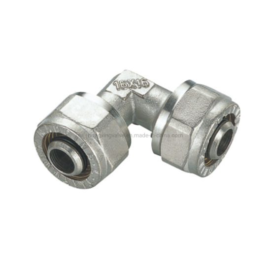 Chrome Plate Double Nipple Brass Pex Pipe Compression Fitting Elbow