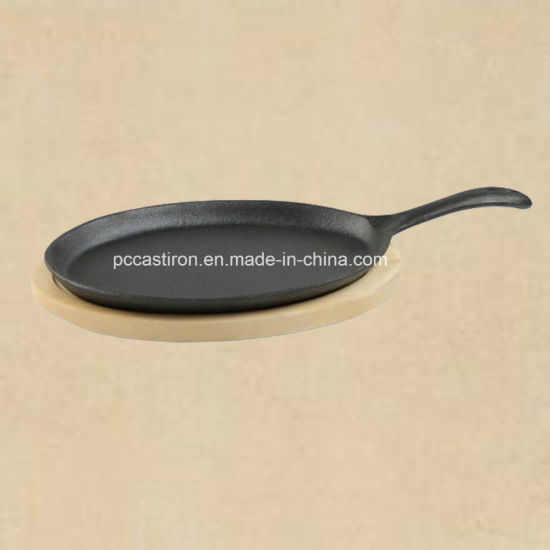 Preseasoned Cast Iron Sizzler Pan with Wooden Base pictures & photos