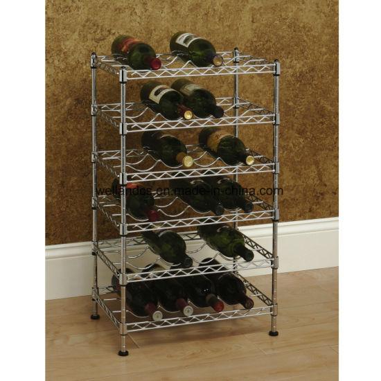 China Multi Level Adjustable Chrome Metal Wine Rack Bottle Stand