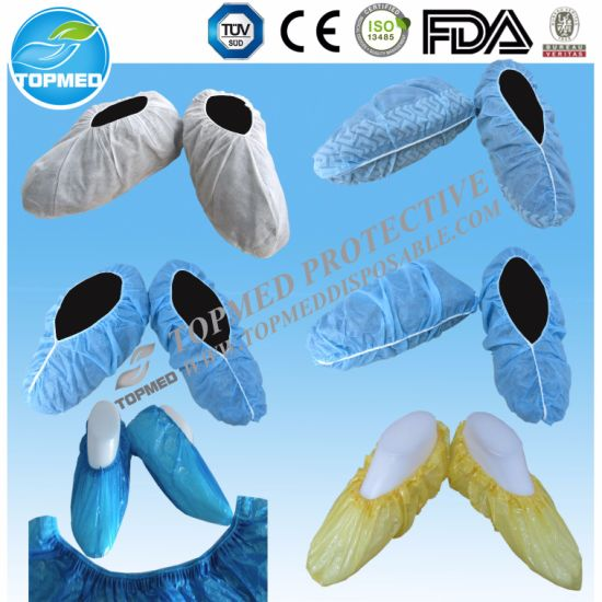 Half Coated PP Nonwoven Shoe Cover, PP+CPE Shoe Cover