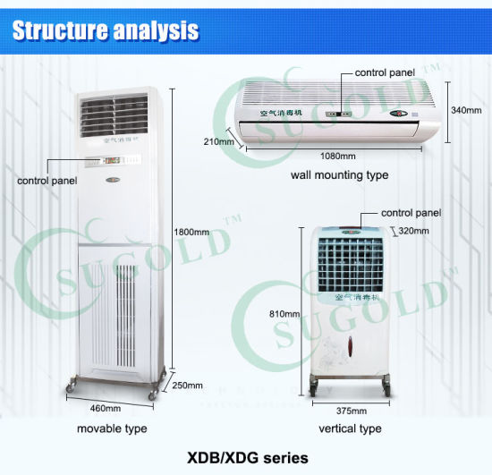 Mobile Vertical Air Disinfection Machine UV Air Purifier pictures & photos