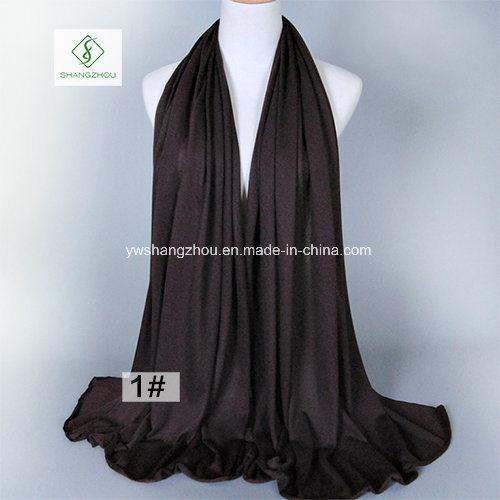 Wholesale Single Jersey Muslim Hijab Elastic Plain Cotton Fashion Scarf