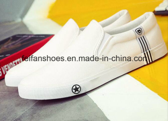 Hot Sale Men Vulcanized Canvas Shoes Slip-on Casual Shoes (FF1026-03) pictures & photos