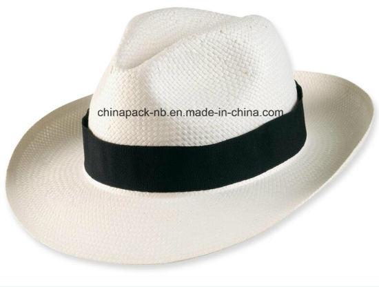 Classics White Panama Fedora Paper Straw Hats (CPA_90052)