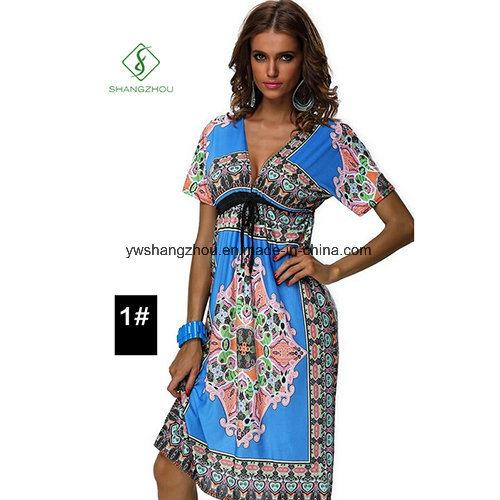 Newest Fashion Large Size Women Bohemia Printed Sexy Beach Dress