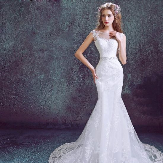 Mermaid Strapless V Neck Lace Full Length Wedding Bridal Dress pictures & photos