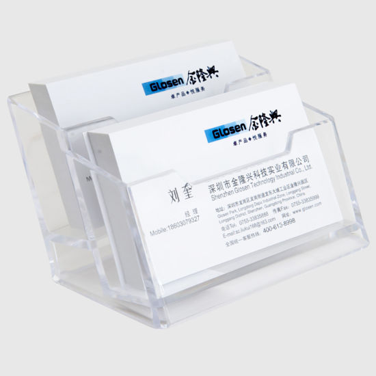 China desktop acrylic clear 2 lattices business name card storage desktop acrylic clear 2 lattices business name card storage holder reheart Images