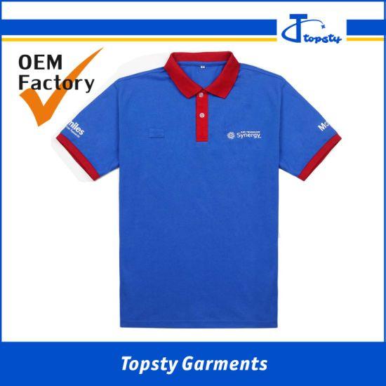 Customized CVC 65cotton, 35polyester Men's Embroiderey Short Sleeve Polo Shirts