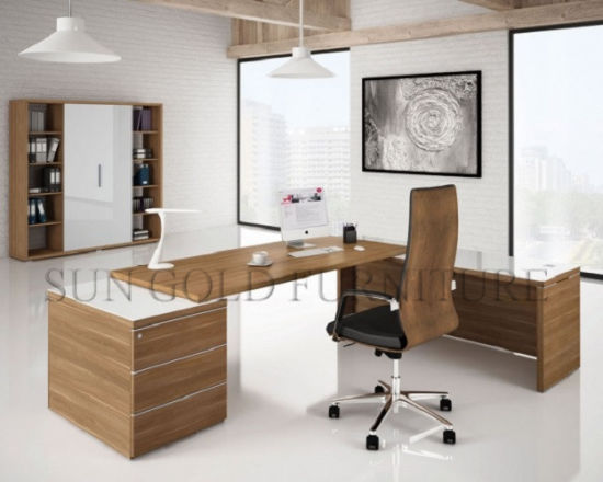 modern wood office furniture. Modern Office Furniture L-Shaped Teak Wood Desk (SZ-ODT678)