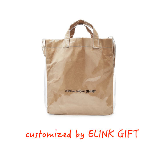 Double Layer Clear PVC Coated Tyvek Paper Washable Kraft Paper Tote Bag Shopping Bag Shoulder Bag