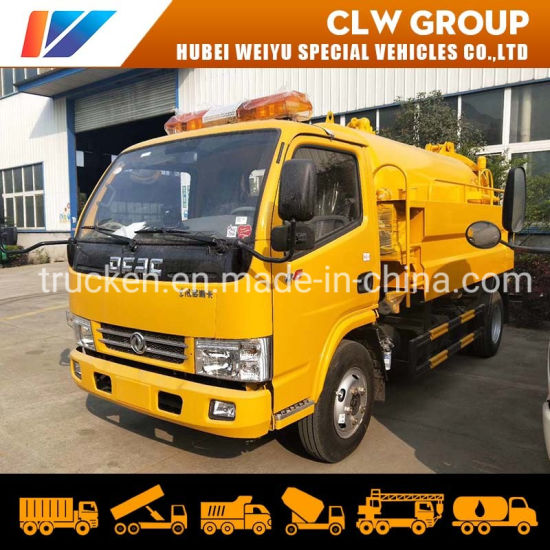 Dongfeng 4000liters High Pressure Cleaning Truck Sewage Suction Truck Vacuum Pump Sewer Dredging Truck
