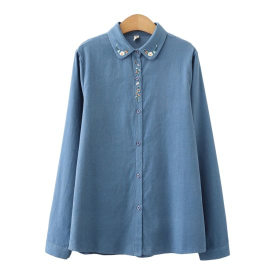 Shangyan Corduroy Embroidered Button Down Long Sleeve Shirt Blouse