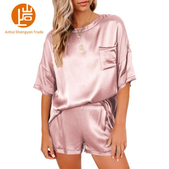 Shangyan Women's Casual Satin Short Sleeve and Shorts Two Piece Pajama Sets Suit