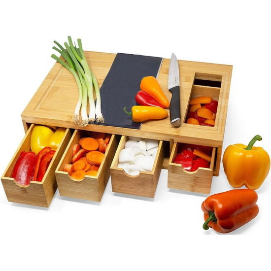 Costom Large Bamboo Cutting Board with Containers for Kitchen Chopping Boards with 4 Compartments