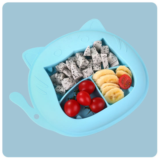 Rabbit Shape Silicone Baby Dinner Plate with Suction Cups
