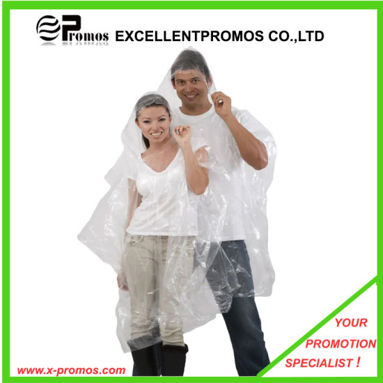 OEM Customized Printed Logo Cheapest PE Bulk Promotional Disposable Raincoat Rain Poncho pictures & photos