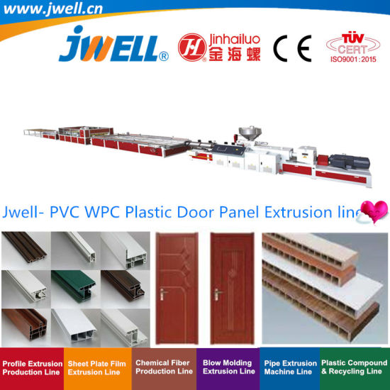 Jwell- PVC WPC Wood-Plastic Hollow Door Board|Plate Recycling Profile Agricultural Making Extrusion Machine with 600-1200mm Width Conical Twin Screw Extruder
