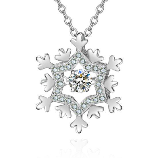 100% 925 Sterling Silver Snowflake Necklaces Women Fashion Party Jewelry