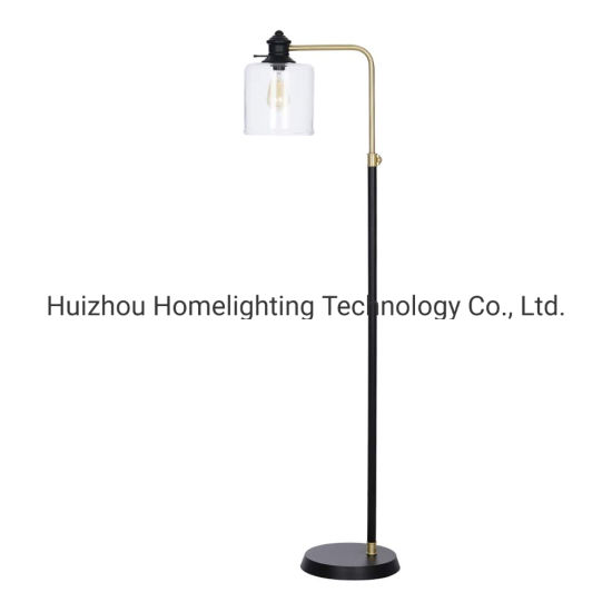 Jlf 3082 Antique Brass Task Floor Lamp With Clear Glass Shade