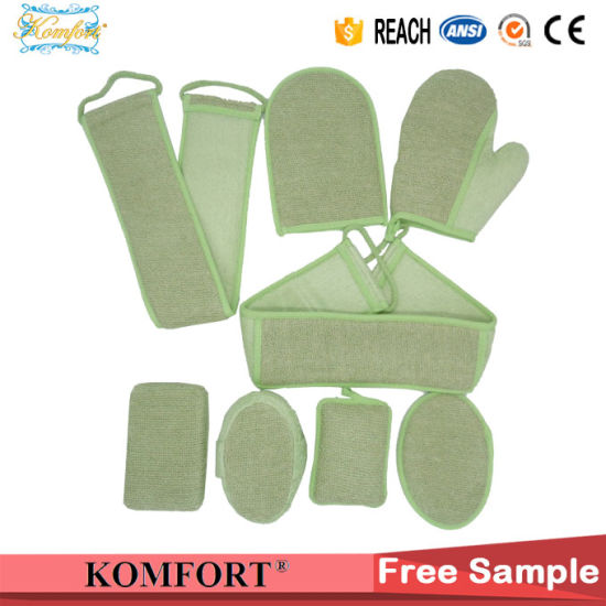 Natural Bamboo Fabric Bath Product Exfoliating Belt Back Scrubber Glove