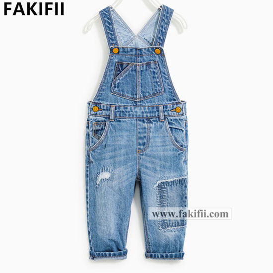 Top Quality OEM Children/Kid Clothes Baby Cotton Suspender Jeans