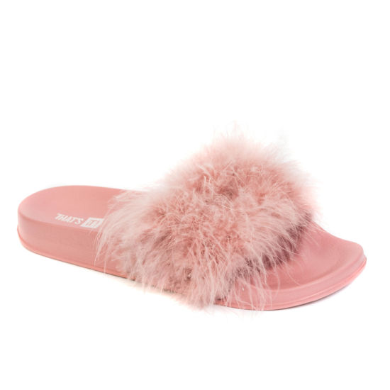 Woman Turkey Fur Slippers with Arch Footbed