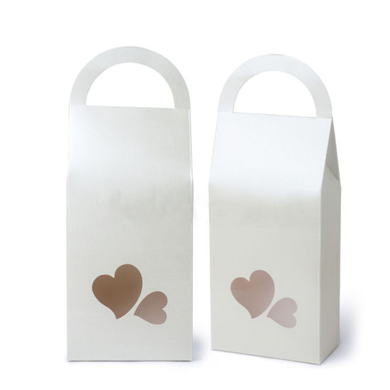 Heart Windows Customized Art Paper Gift Box with Die Cut Handle