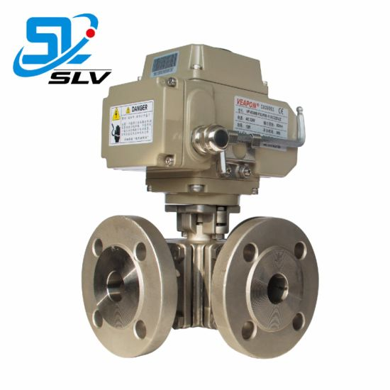 Motorised Electric Operated 3way Ss Flanged Ball Valve pictures & photos