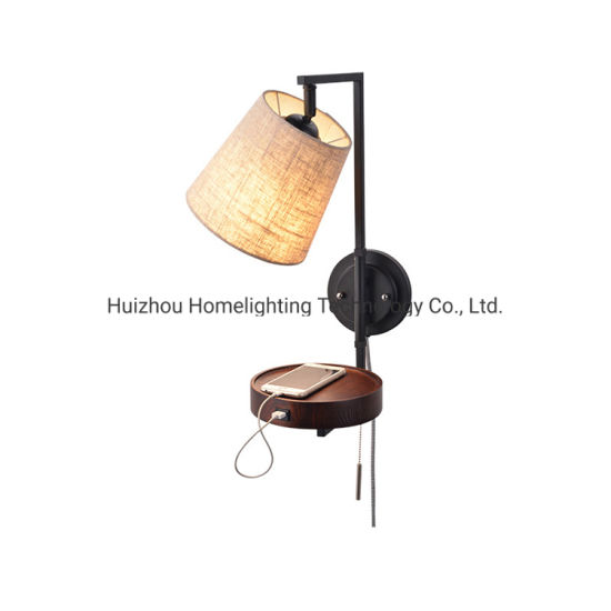 Jlw-702 Modern Home Living Room Wall Mounted Fabric Shade USB Charging Light with Plate