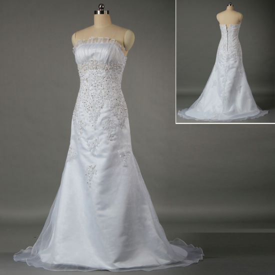 Women's Strapless Bead Lace Appliqued Organza A Line Bridal Gown for Wedding W039