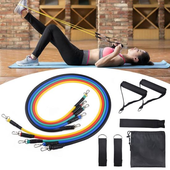 11PCS/Set Muscle Gain Flexible Resistance Band Kit Pull Rope Elastic Rope Indoor Elasticity Sports Equipment